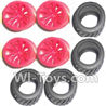 Subotech BG1504 Car Spare Parts-27-02 Big Wheel Hub and Trire Lether(Each 4pcs)-Red,Subotech BG1504 RC Car Spare parts Accessories,1:16 2WD BG1504 RC Racing Car parts,High Speed Drifting Buggy Parts