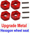 Wltoys 10428-C2 K949-12 Upgrade Metal 12MM Hexagon wheel seat,Tire adapter(4pcs)-Red
