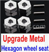 Wltoys 10428-C2 K949-12 Upgrade Metal 12MM Hexagon wheel seat,Tire adapter(4pcs)-Silver