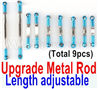Wltoys 12428 Upgrade Parts-Metal Rod(Length adjustable)-9pcs-Blue.