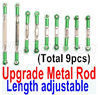 Wltoys 12428 Upgrade Parts-Metal Rod(Length adjustable)-9pcs-Green.