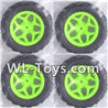 Wltoys 18428 Whole wheel unit(4 set)-Green,Wltoys 18428 RC Car Spare Parts Replacement Accessories,1:18 Scale 4wd,2.4G 18428 rc racing car Parts,On Road Drift Racing Truck Car Parts