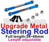 Wltoys 12429 Upgrade Metal steering rod(2pcs)-Blue-(Full length-54~66mm)-Length adjustable Parts