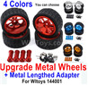 Wltoys 144001 Upgrade Metal Wheels Tires + Upgrade Metal Lengthed 24mm Hex wheel seat.