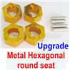 Wltoys 184012 Parts-06-04 A949-11 Upgrade Metal Hexagonal round seat(4pcs)(4pcs)-Yellow,Wltoys 184012 Rc Racing Car Truck Spare Parts,High speed Wltoys 184012 1:18 Scale 4wd,2.4G Spare Parts Accessories,F1 184012 On Road Drift Racing Truck Car Parts