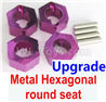 Wltoys 184012 Parts-06-05 A949-11 Upgrade Metal Hexagonal round seat(4pcs)-Purple,Wltoys 184012 Rc Racing Car Truck Spare Parts,High speed Wltoys 184012 1:18 Scale 4wd,2.4G Spare Parts Accessories,F1 184012 On Road Drift Racing Truck Car Parts
