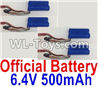 Wltoys 18404 RC Batteries,6.4V 500mAh battery(4pcs)