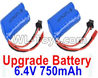 Wltoys 18404 Upgrade 6.4V 750mAh battery(2pcs)-52X32X16mm,Wltoys 18404 RC Crawler Car Spare Parts Replacement Accessories,1:18 18404 4wd RC rock racing car Parts,On Road Drift Racing Truck Car Parts