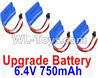 Wltoys 18404 Upgrade 6.4V 750mAh battery(4pcs)-52X32X16mm