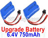 Wltoys 18405 Upgrade RC Batteries,6.4V 750mAh battery(2pcs)-52X32X16mm