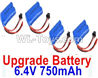 Wltoys 18405 Upgrade 6.4V 750mAh battery(4pcs)-52X32X16mm