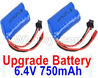 Wltoys 18409 Upgrade 6.4V 750mAh battery(2pcs)-52X32X16mm