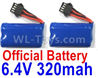 Wltoys 18629 Lipo Battery Packs,6.4V 320mAh Battery(2pcs)-18629-0679