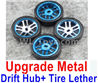 Wltoys K969 Upgrade Metal Drift Hub(4pcs) & Upgrade Drift Trie lether(4pcs)-Blue,1:28 Wltoys K696 Rc Car Spare Parts Replacement accessories,K969 On Road Drift Racing Truck Car Parts