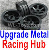 Wltoys K969 Upgrade Metal Racing Hub(4pcs)(Can only match the Racing Tire lether)-Black,1:28 Wltoys K696 Rc Car Spare Parts Replacement accessories,K969 On Road Drift Racing Truck Car Parts