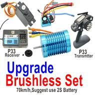 Wltoys 124019 Brushless set-Upgrade Brushless motor+ ESC+Motor gear +Receiver + Transmitter-70km/h