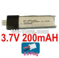 3.7V Battery-3.7v 200mah 15C Battery with White 2.0 Plug-551148,Size:50X11X5.5mm,Weight:6.1g,3.7V Lipo Battery,3.7V Li-ion Battery