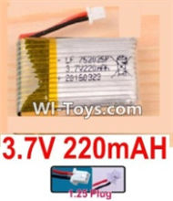 3.7V Battery-3.7v 220mah 15C Battery with White 1.25 Plug-752025,702025,602025,Size:27X20X8mm,Weight:6.3g,3.7V Lipo Battery,3.7V Li-ion Battery