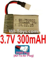 3.7V Battery-3.7v 300mah 25C Battery with 51005 Air-to-air Plug-752030,702030,Size:33X20X8mm,Weight:5.6g,3.7V Lipo Battery,3.7V Li-ion Battery