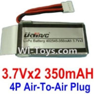 3.7V Battery-3.7VX2 350mah Battery with 4P Air-to-air Plug-402545,Size:50X25X10mm,Weight:22.5g,3.7V Lipo Battery,3.7V Li-ion Battery