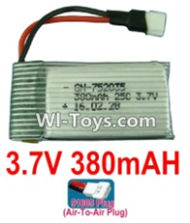 3.7V Battery-3.7v 380mah 25C Battery with 51005 Air-to-air Plug-752035,Size:38X20X7.5mm,Weight:10.5g,3.7V Lipo Battery,3.7V Li-ion Battery