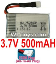 3.7V Battery-3.7V 500mah Battery with 51005 Air-to-air Plug-752540P,Size:42X25X7.5mm,Weight:14.7g,3.7V Lipo Battery,3.7V Li-ion Battery