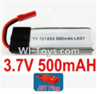 3.7V Battery-3.7v 500mah 15C Battery with Red JST Plug-721855-Version 1 with Cover,Size:55X18X7.2mm,Weight:14.2g,3.7V Lipo Battery,3.7V Li-ion Battery