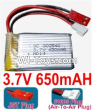 3.7V Battery-3.7v 650mah 15C Battery with Both JST and 51005 Air-To-Air Plug-802540,Size:40X25X8mm,Weight:19g,3.7V Lipo Battery,3.7V Li-ion Battery