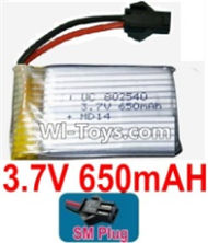 3.7V Battery-3.7v 650mah 15C Battery with Black SM Plug-802540,Size:40X25X8mm,Weight:19g,3.7V Lipo Battery,3.7V Li-ion Battery