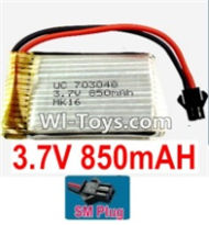 3.7V Battery-3.7v 850mah 15C Battery with Black SM Plug-703048,Size:50X30X7mm,Weight:24g,3.7V Lipo Battery,3.7V Li-ion Battery