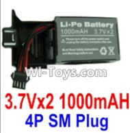 3.7V Battery-3.7Vx2 1000mah 25C Battery with 4P SM Plug,Size:22x15x6.5mm,Weight:64g,3.7V Lipo Battery,3.7V Li-ion Battery