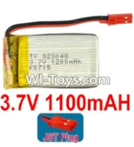3.7V Battery-3.7v 1100mah 15C Battery with Red JST Plug-923048,Size:50X30X9mm,Weight:27g,3.7V Lipo Battery,3.7V Li-ion Battery