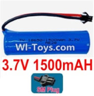 3.7V Battery-3.7v 1500mah 15C Battery with Black SM Plug-18650,Size:67X18X18mm,Weight:37.5g,3.7V Lipo Battery,3.7V Li-ion Battery