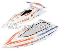Double Horse DH 7001 RC boat parts,Shuang Ma 7001 parts-01 Upper shell cover,canopy & Bottom boat body