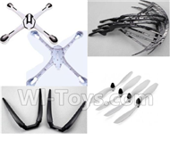 YiZhan X6 Parts-32 Crash set 2(Upper and bottom shell cover-Blue & Outer protect frame(4pcs) & Propellers(4pcs) & Landing skid(2pcs)) For YiZhan X6 RC Quadcopter,Drone Spare parts
