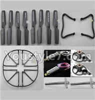 JJRC H8C H8D Parts--33 Crash set 1(Propelers-8pcs & Landing skid-2pcs & Outer protect frame-4pcs & Motor-2pcs & Main gear with hollow pipe-2pcs & Motor seat-2pcs)-Black) For JJRC H8C H8D Quadcopter Parts,Drone parts,Camera spare parts