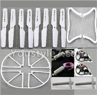 JJRC H8C H8D Parts--34 Crash set 1(Propelers-8pcs & Landing skid-2pcs & Outer protect frame-4pcs & Motor-2pcs & Main gear with hollow pipe-2pcs & Motor seat-2pcs)-White) For JJRC H8C H8D Quadcopter Parts,Drone parts,Camera spare parts
