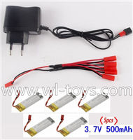 Lishitoys L6036 RC Quadcopter Parts-37 Charger & 5pcs 1-to-5 jst conversion wire & 5pcs 500mah battery