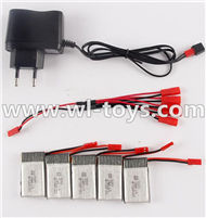 MJX X300 X300C RC Quadcopter parts-33 Charger & 5pcs 1-to-5 jst cover wire & 5pcs 750mah battery
