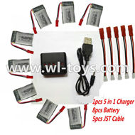 MJX X300 X300C RC Quadcopter parts-47 Upgrade 1-to-5 balance charger and USB charger & 5pcs coversion wire & 8pcs 750mah battery