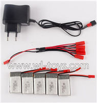 MJX X800 RC Quadcopter Parts-30 Charger & 5pcs 1-to-5 jst cover wire & 5pcs 750mah battery