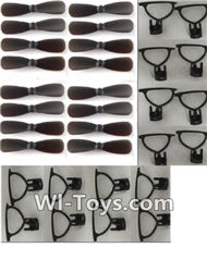 MJX X909T X909 Spare Parts-07-06 Propellers(16pcs)-Black & Outer protect frame(16pcs)-Black,MJX X909T X909-T RC Quadcopter Drone Spare Parts Replacement Accessories