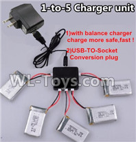 XK A100 J11 Parts-Upgrade 1-to-5 charger and balance charger & USB-TO-socket Conversion plug(Not include the 5 battery),XK A100-SU27 J11 RC Plane Parts