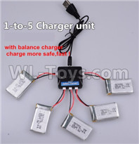 Wltoys XK A130-Y20 Parts-Upgrade 1-to-5 charger and balance charger(Not include the 5 battery),XK A130-Y20 RC Plane Drone Parts,A130-Y20 C-17 RC Plane Parts