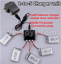 Wltoys XK A130-Y20 Parts-Upgrade 1-to-5 charger and balance charger & USB-TO-socket Conversion plug(Not include the 5 battery),XK A130-Y20 RC Plane Drone Parts,A130-Y20 C-17 RC Plane Parts
