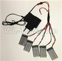 Wltoys XK A130-Y20 Parts-USB Charger wire & Upgrade 1-to-5 Conversion wire & USB-to-Socket Conversion plug((Not include the 5 battery),XK A130-Y20 RC Plane Drone Parts,A130-Y20 C-17 RC Plane Parts