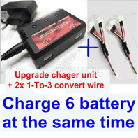 XK A160 SKYLARK Parts-Upgrade charger and balance chager & 2pcs 1-To-3 convert wire-Total can charge 6x battery and the same time,Wltech Wltoys XK A160-J3 Skylark Airplanes Parts