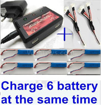 XK A160 SKYLARK Parts-Upgrade charger and balance chager & 2pcs 1-To-3 convert wire & 6pcs battery-Total can charge 6x battery and the same time,Wltech Wltoys XK A160-J3 Skylark Airplanes Parts