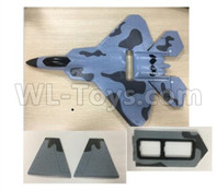 Wltoys XK A180 Parts-Fuselage Body assembly with Foam, Vertical Tail wing and Battery compartment cove-A180.0014