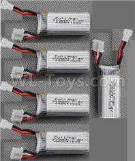 Wltoys XK A180 Parts-Lipo Battery Packs, Total 5pcs. 7.4v 300mah Battery